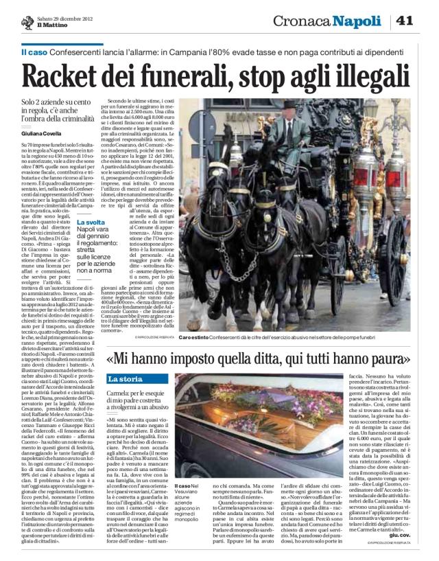 RACKET DEI FUNERALI STOP AGLI ILLEGALI 29 12 2012