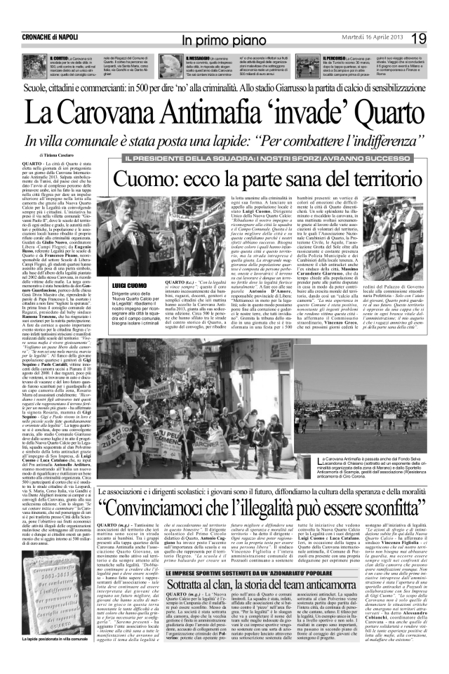 QUARTO INVASA DALLA CAROVANA ANTIMAFIA 16 04 2013